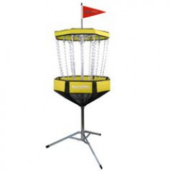 Portable discgolf doel yellow
