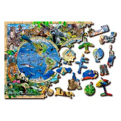 Wooden puzzle Animal kingdom map L