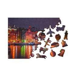 Wooden City Wooden puzzle Amsterdam by night
