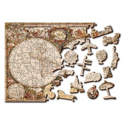 Wooden City Wooden puzzle Antique world map