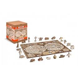 Wooden puzzle Antique world map L